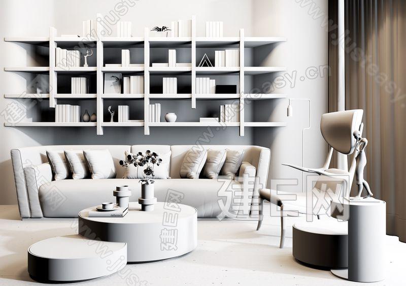 现代新奢华沙发茶几组合3d模型