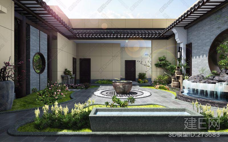 新中式屋顶花园3d模型