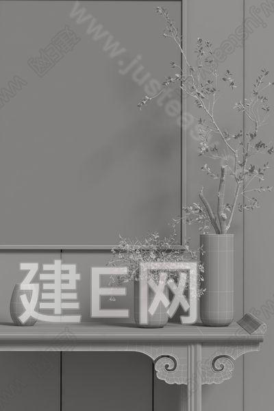 新中式玄关3d模型