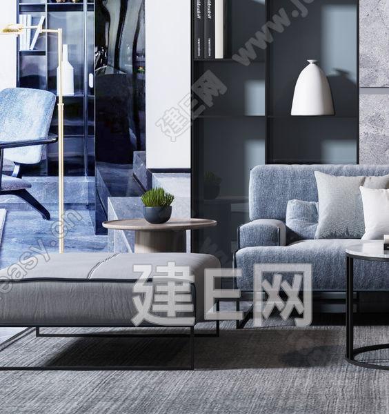 现代沙发椅子茶几组合3d模型