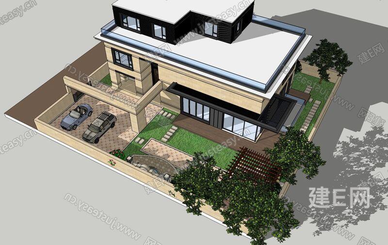 欧式建筑外观园林景观sketchup模型