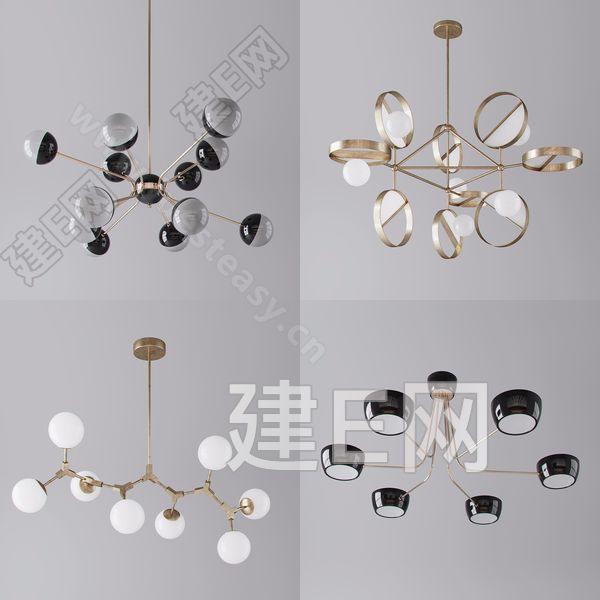 现代奢华金属吊灯3d模型