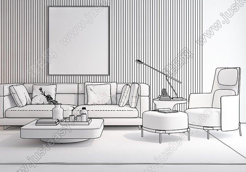 意大利 米洛提 minotti 现代组合沙发3d模型