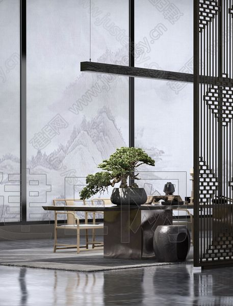 新中式售楼处茶台3d模型