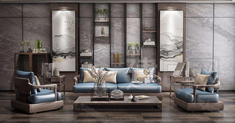 新中式实木沙发组合3d模型