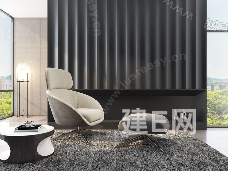 意大利 米洛提 Minotti 扶手椅3d模型