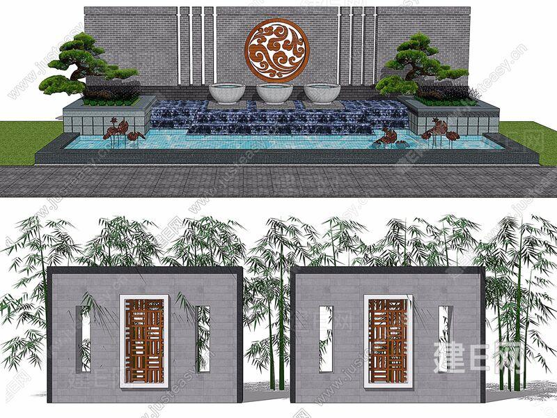 中式围墙景观墙[模型id:5018]图片