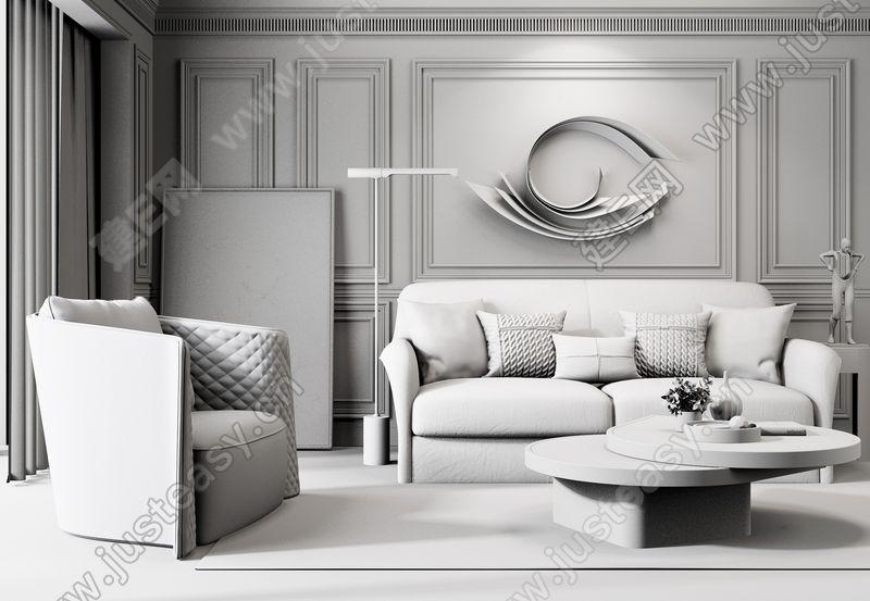 现代轻奢美式沙发茶几组合3d模型