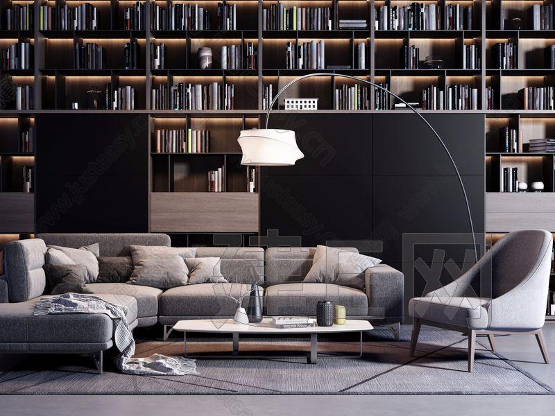现代沙发椅子书柜组合3d模型
