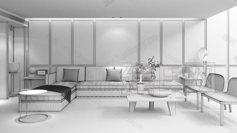 万科三亚度假豪宅新中式客厅3d模型