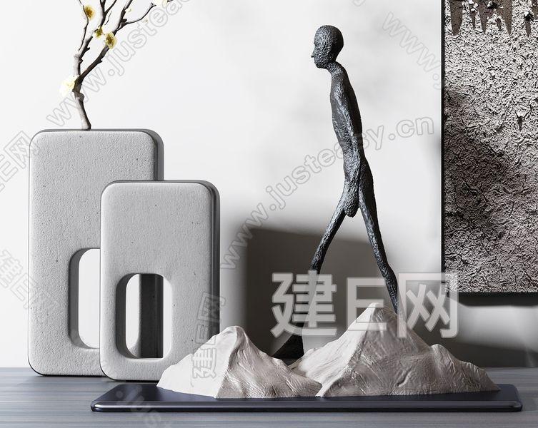 新中式立体画干枝摆件组合3d模型