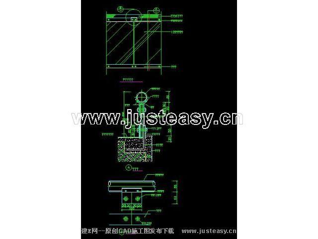 位置栏杆玻璃节点常用45CAD图纸下载[id:3652007cad保存自动大样图片