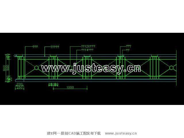 图纸玻璃常用栏杆节点59CAD大样下载[id:366CAD书v图纸图片