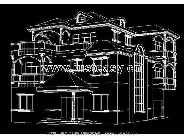 三层别墅建筑结构施工图附结构模型cad图纸下载[id:]