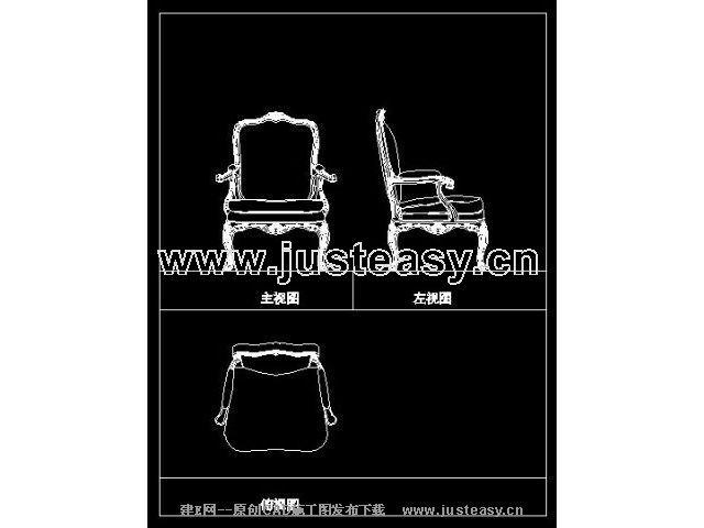 欧式扶手椅平面立面cad图纸下载[id:799]