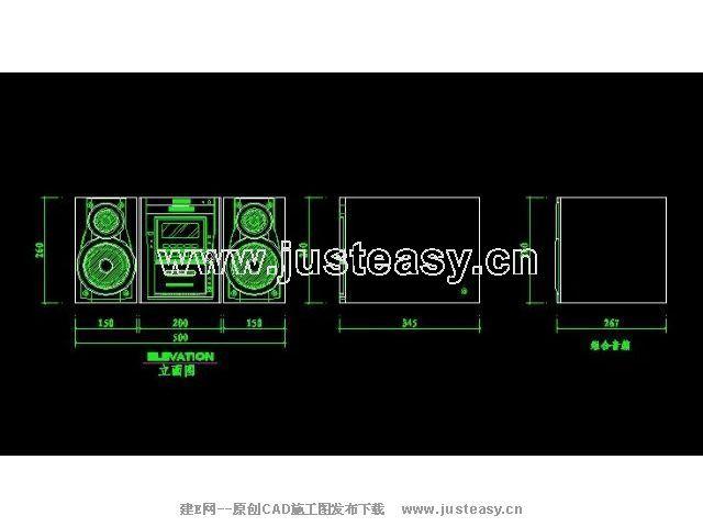 v图纸图纸立面CAD音箱下载[id:1562]_建E图纸u图纸池图片