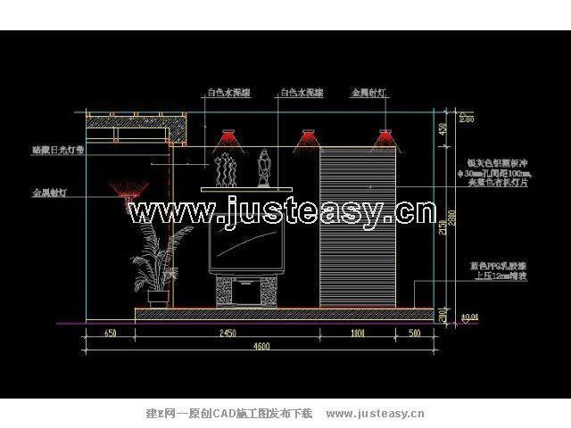 客厅电视背景墙铝塑板立面详图cad图纸下载[id:1810