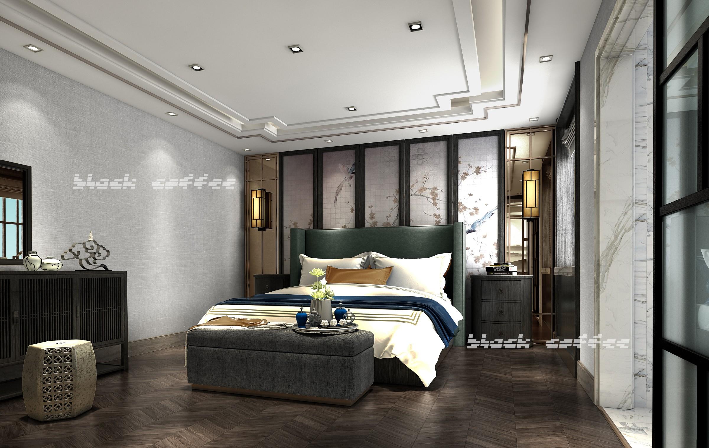 黑咖啡新作——新中式套房 - 效果图交流区-建e室内