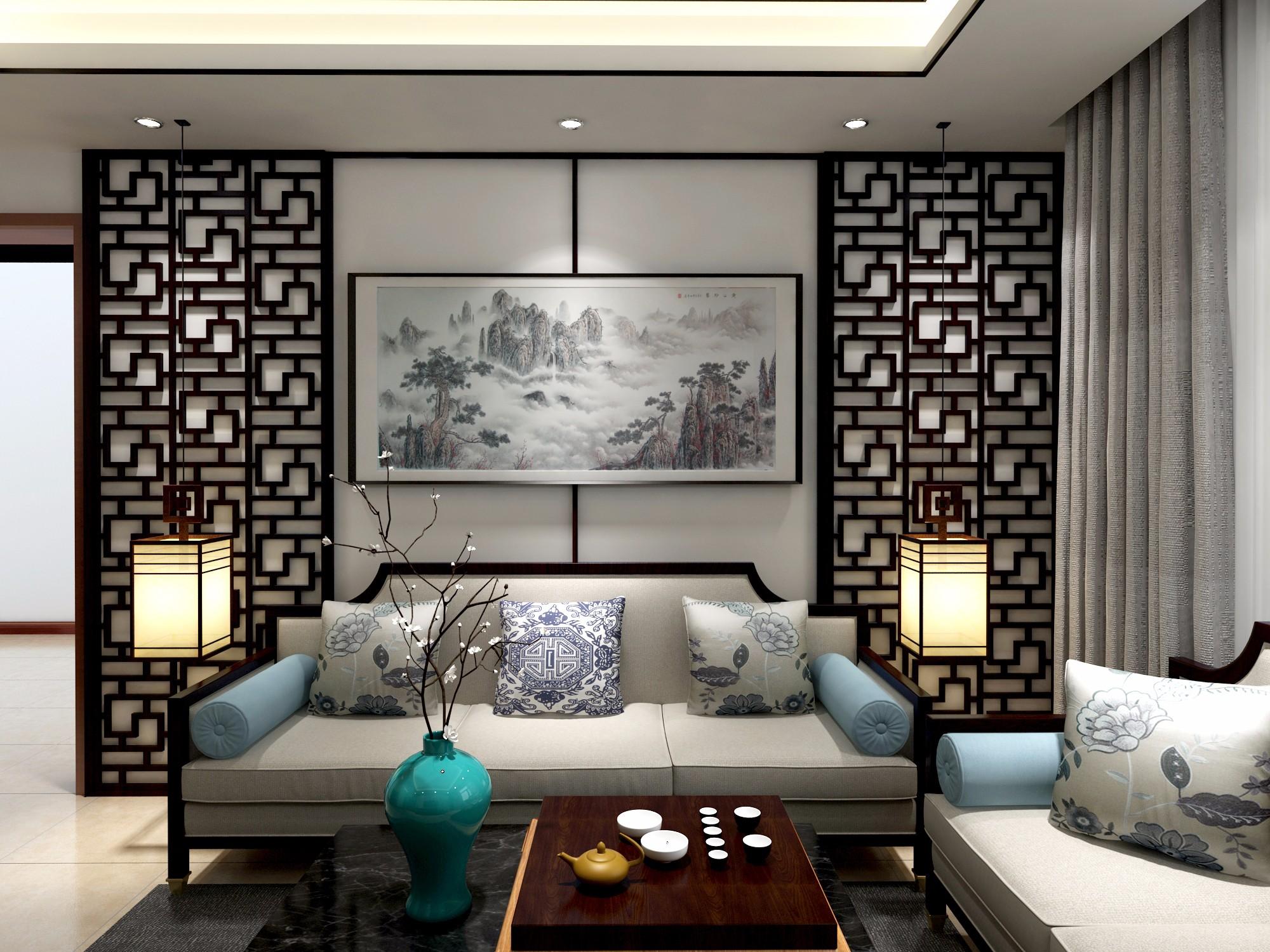 新中式客厅 - 效果图交流区-建e室内设计网