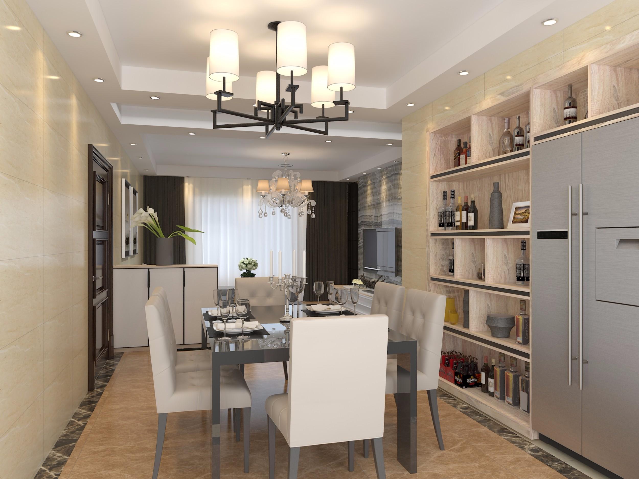 搭配黑色茶镜,入墙式酒柜,最大限度的利用餐厅空间,加之冰箱的入嵌图片