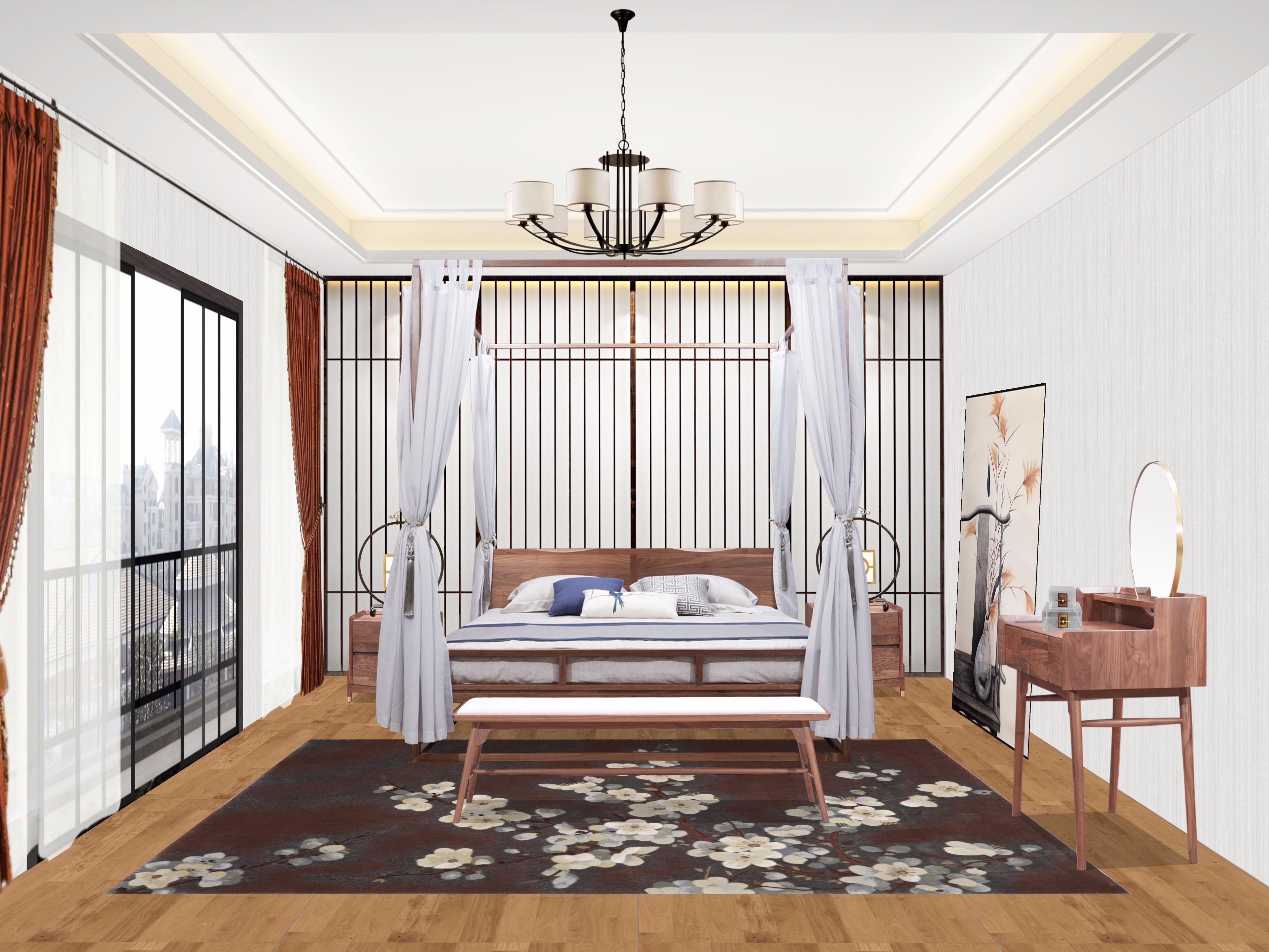 新中式客厅 卧室 书房 - 效果图交流区-建e室内设计网