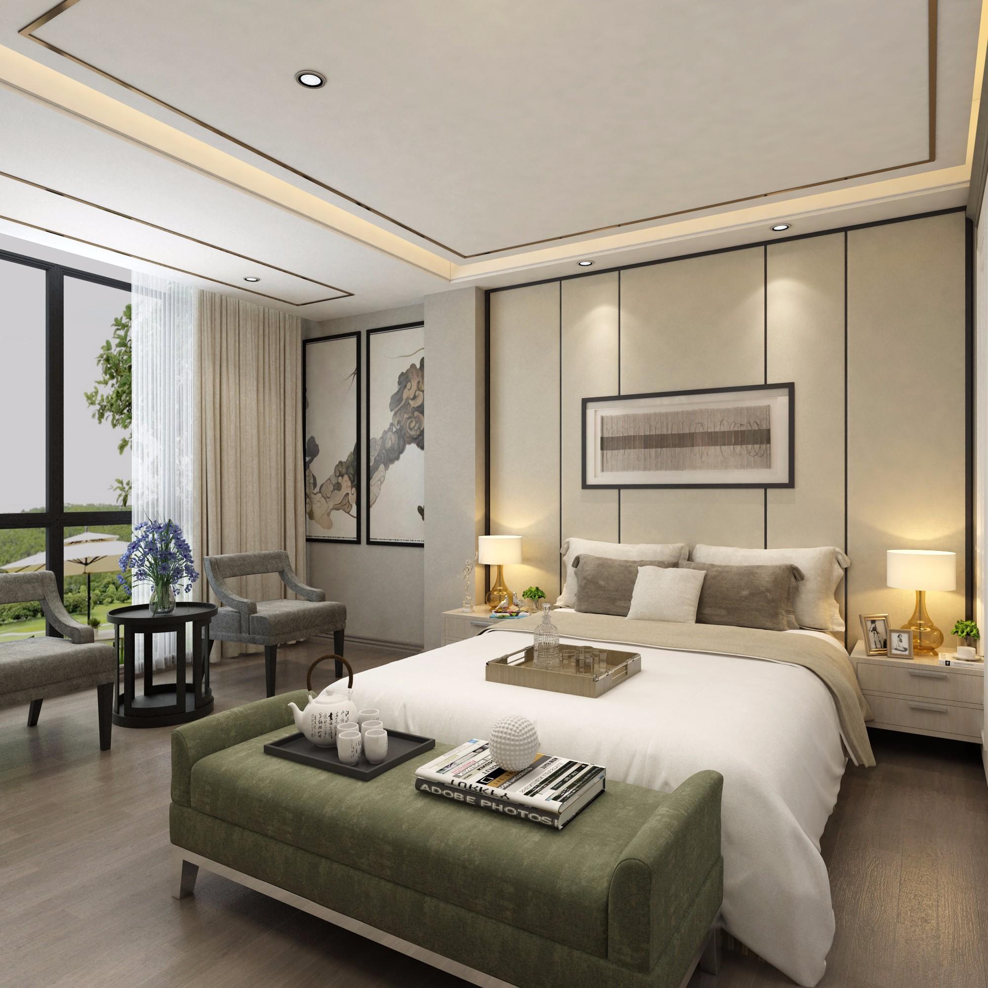 新中式卧室 - 效果图交流区-建e室内设计网