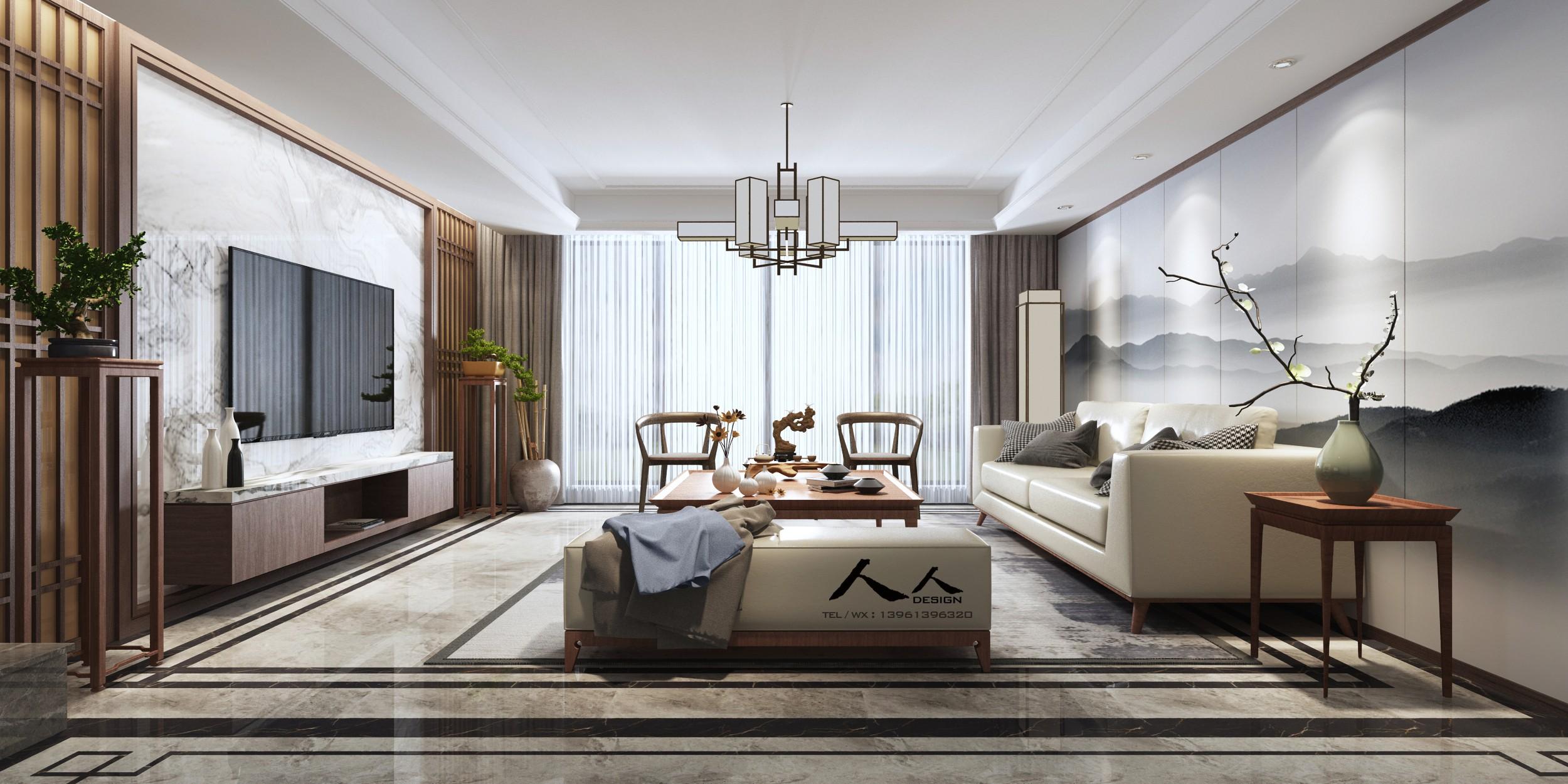 新中式客厅 - 效果图作品交流区 - 建e分享交流平台