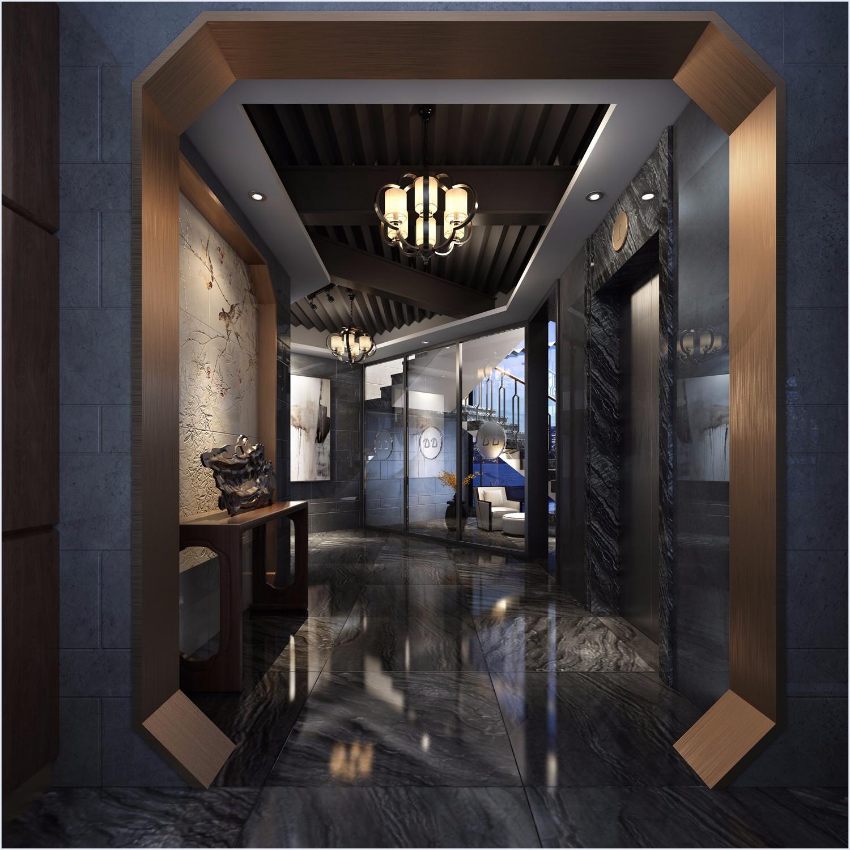 新中式酒店电梯间