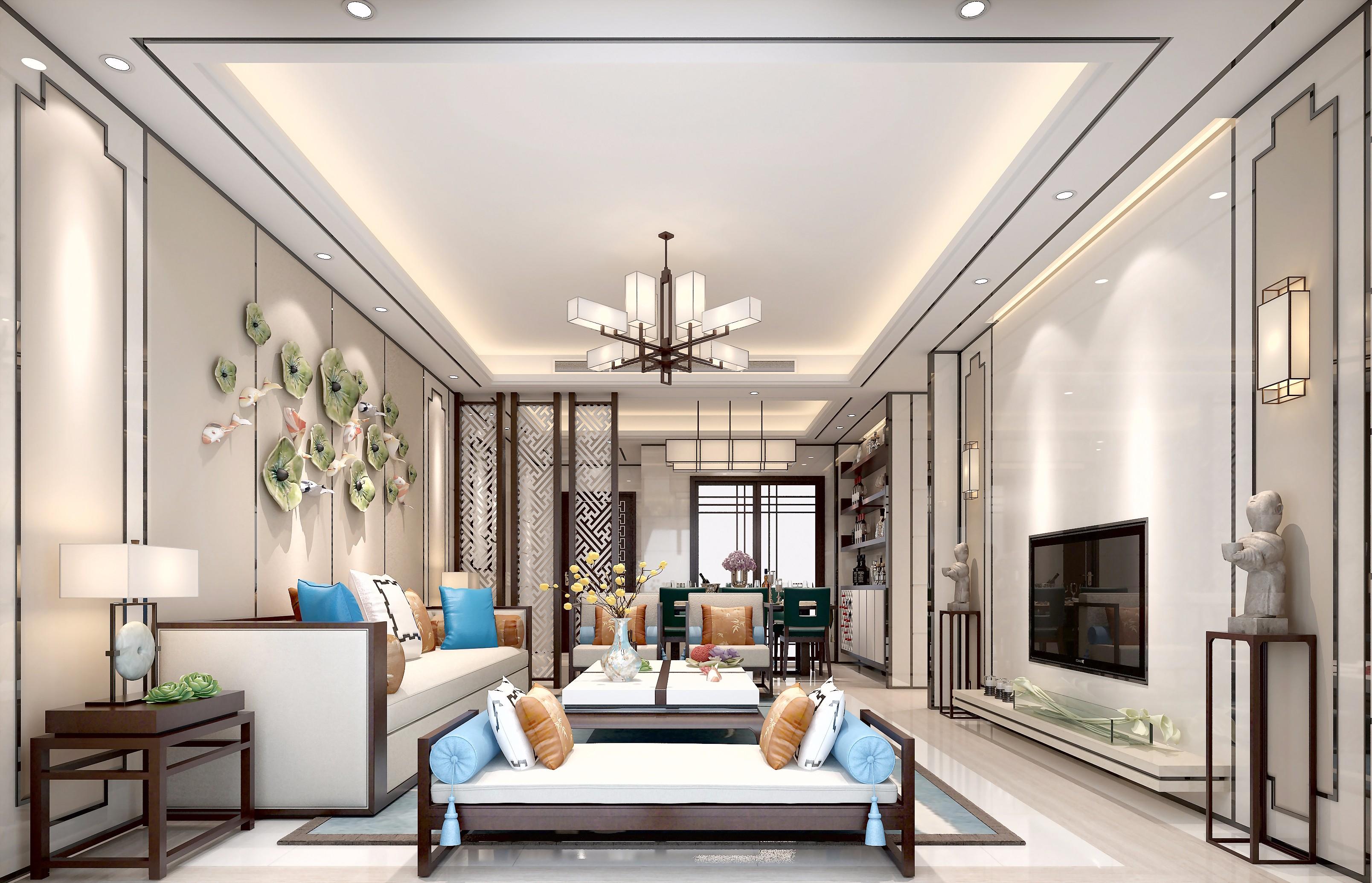 新中式奢华风 - 效果图交流区-建e室内设计网