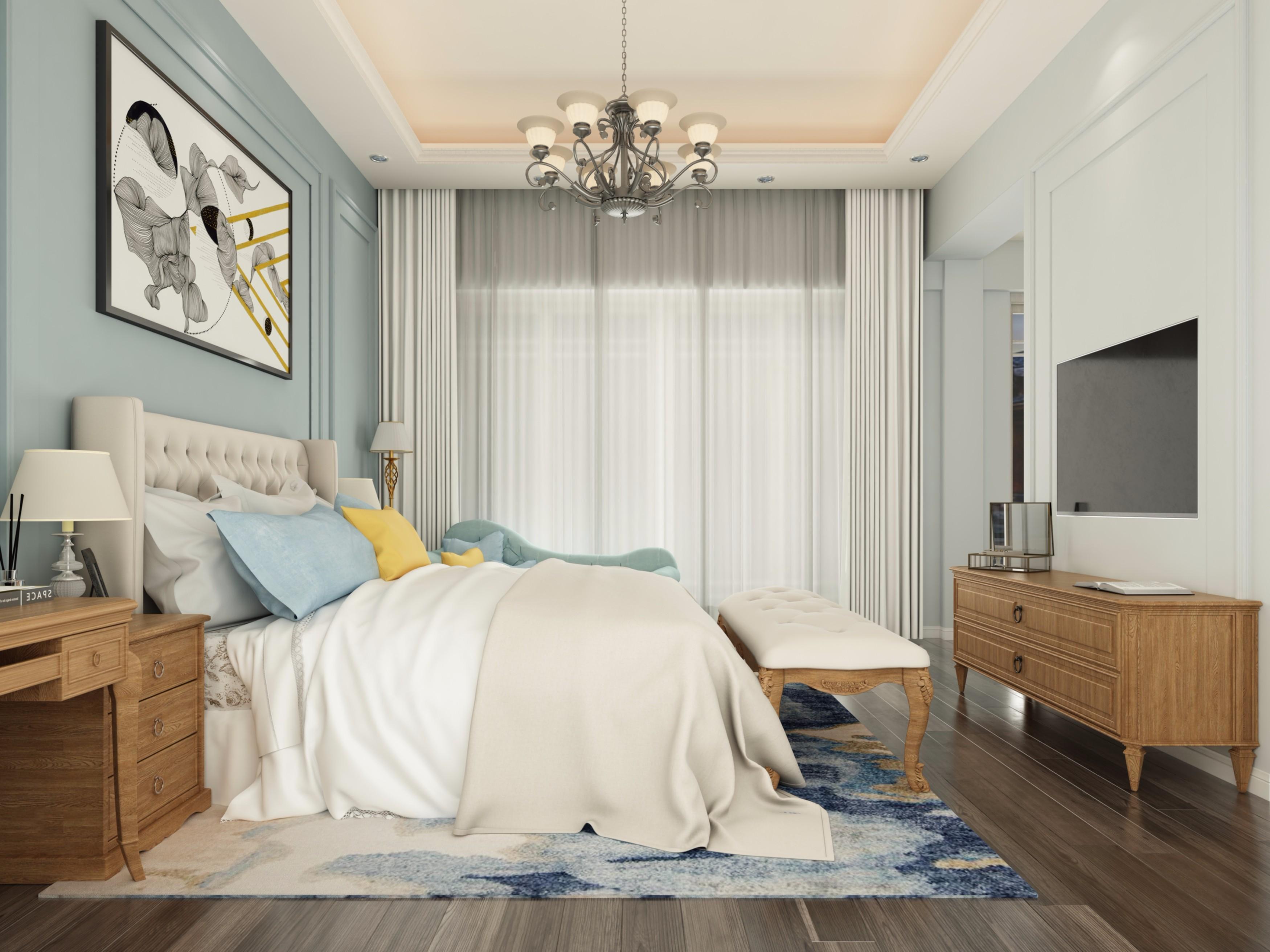 简欧卧室 - 效果图交流区-建e室内设计网