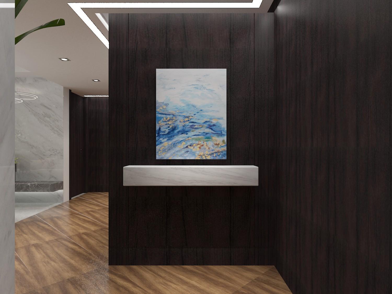 入户玄关 沿墙采用木饰面板做装饰一直延伸到过道尽头.图片
