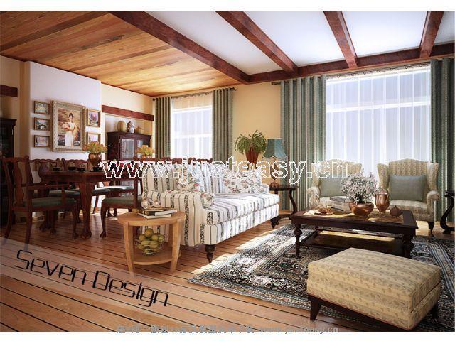 欧式田园乡村别墅客厅餐厅3d模型下载[id:40424]