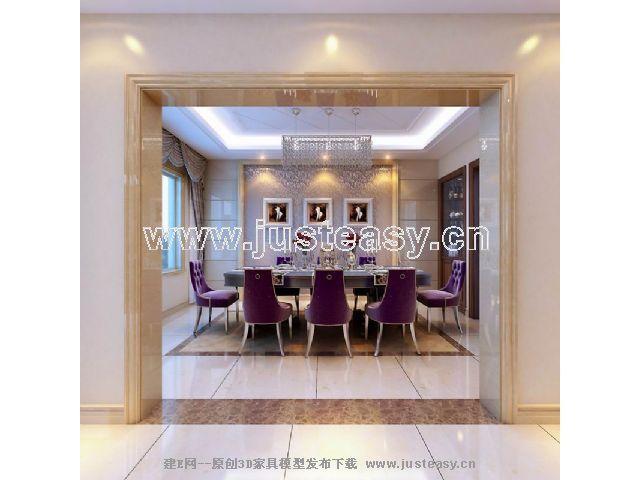 简欧别墅客厅餐厅过道3d模型下载[id:52354]
