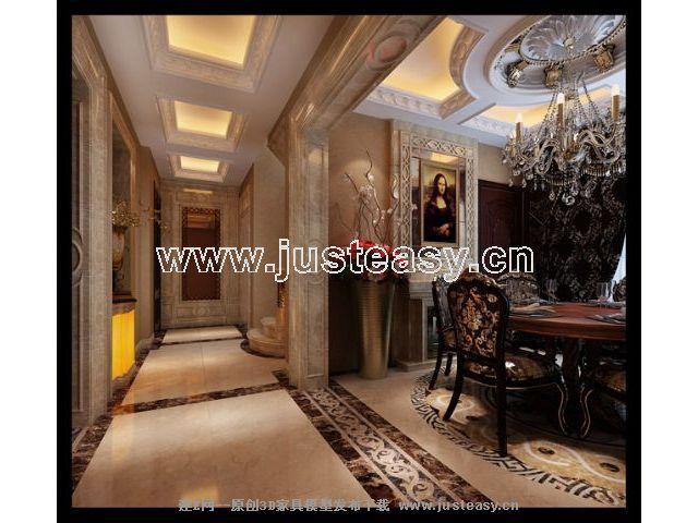 欧式古典餐厅楼梯过道3d模型下载[id:66176]