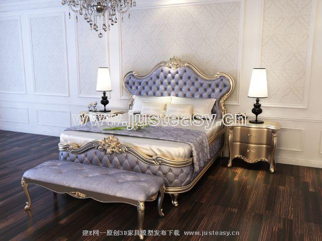 宫廷一号新古典欧式床头柜组合3d模型下载[id:66412]