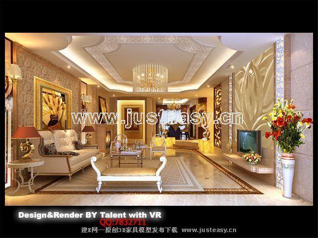 欧式豪华客厅餐厅3d模型下载[id:57335]