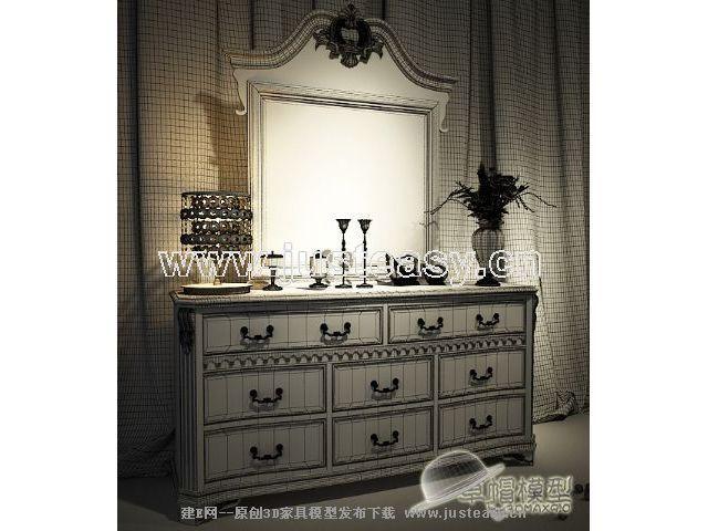欧式梳妆台梳妆镜3d模型下载[id:63296]_建e网模型-3d
