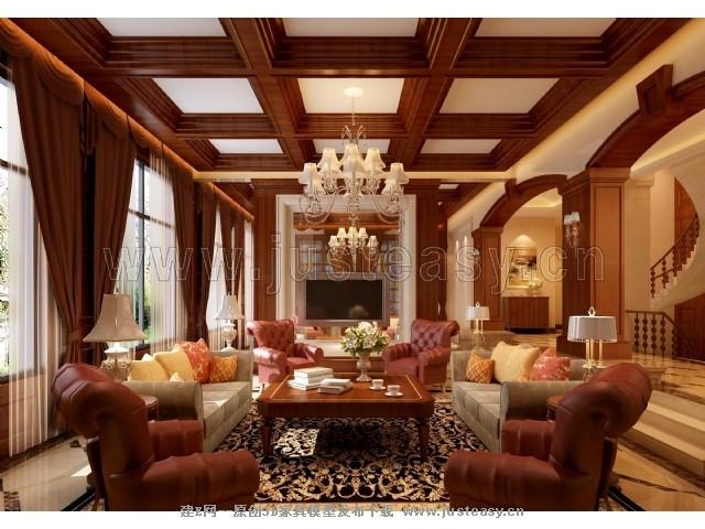 欧式别墅客厅客厅家装空间模型-3d模型分享交流平台