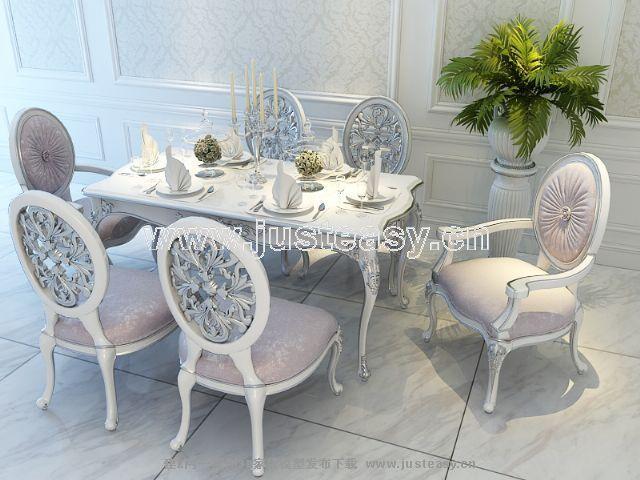 宫廷一号欧式新古典餐桌餐椅组合3d模型下载[id