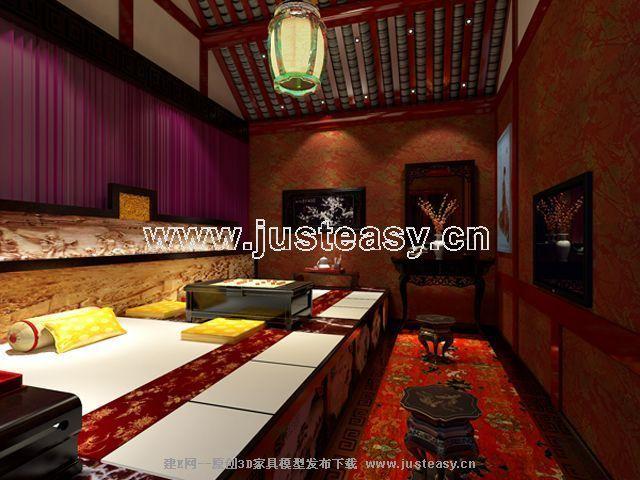 中式spa足浴包间[模型id:66690]图片