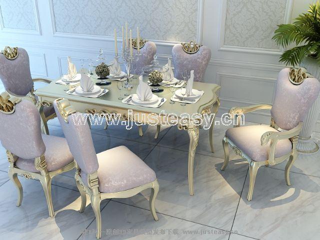 宫廷一号欧式新古典餐桌餐椅组合3d模型下载[id:6673