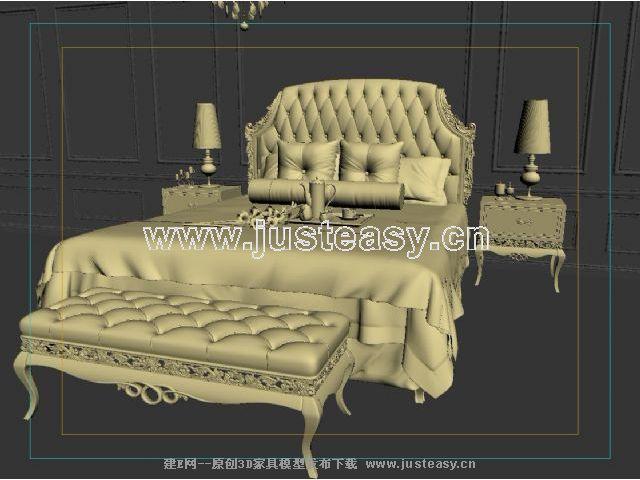宫廷一号欧式新古典床头柜组合3d模型下载[id:66738]
