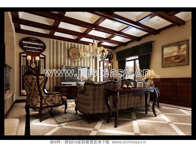 美式欧式乡村别墅客厅餐厅3d模型下载[id:67141]