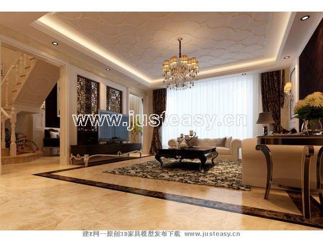 新古典别墅客厅餐厅楼梯3d模型下载[id:67147]