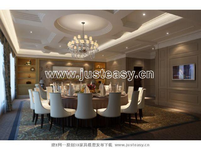 简欧欧式酒店餐厅包间3d模型下载[id:67763]
