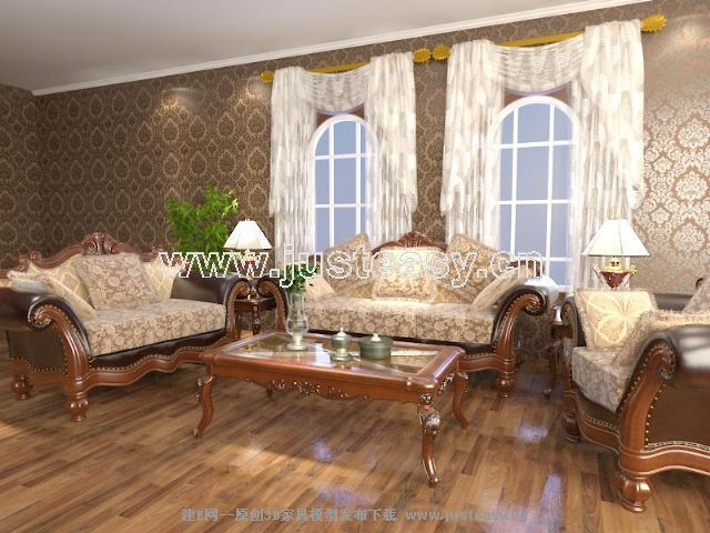 欧式美式多人单人沙发茶几组合3d模型下载[id:68351]