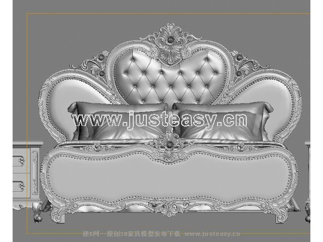 欧式美式新古典雕花床床头柜组合3d模型下载[id:685