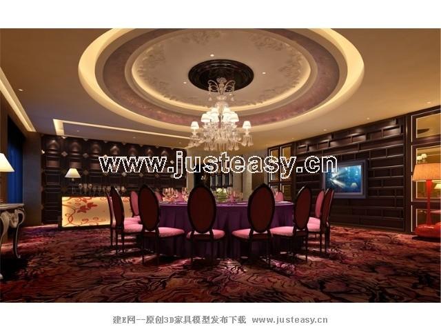 现代欧式酒店餐厅包间3d模型下载[id:69157]图片