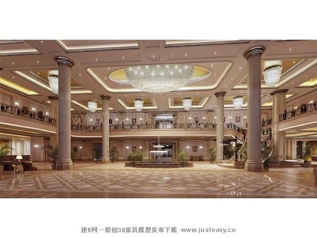现代欧式酒店大厅楼梯3d模型下载[id:71750]_建e网-3d