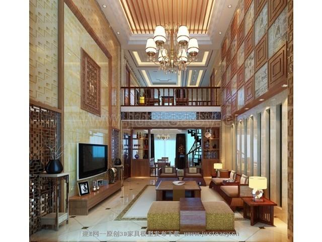 中式复式别墅客厅[模型id:72514]图片
